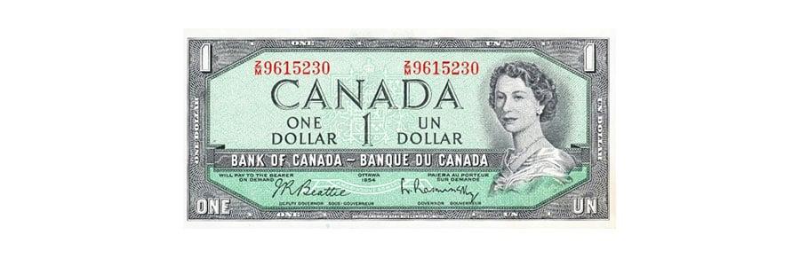 един канадски долар - лице на банкнота