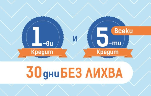 30 дни без лихва за 1-ви и всеки 5-и кредит Credissimo до заплата